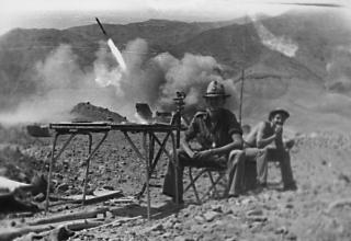 Момент стрельбы из боевой машины РСЗО