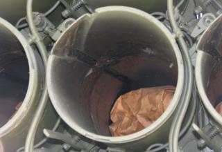 Задний срез направляющей боевой машины 9П140 РСЗО
